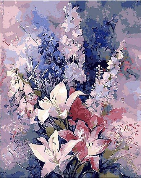 MR-Q1445 Раскраска по номерам Розовые лилии