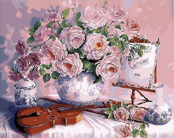 MR-Q1535 Раскраска по номерам Скрипка и розовый букет