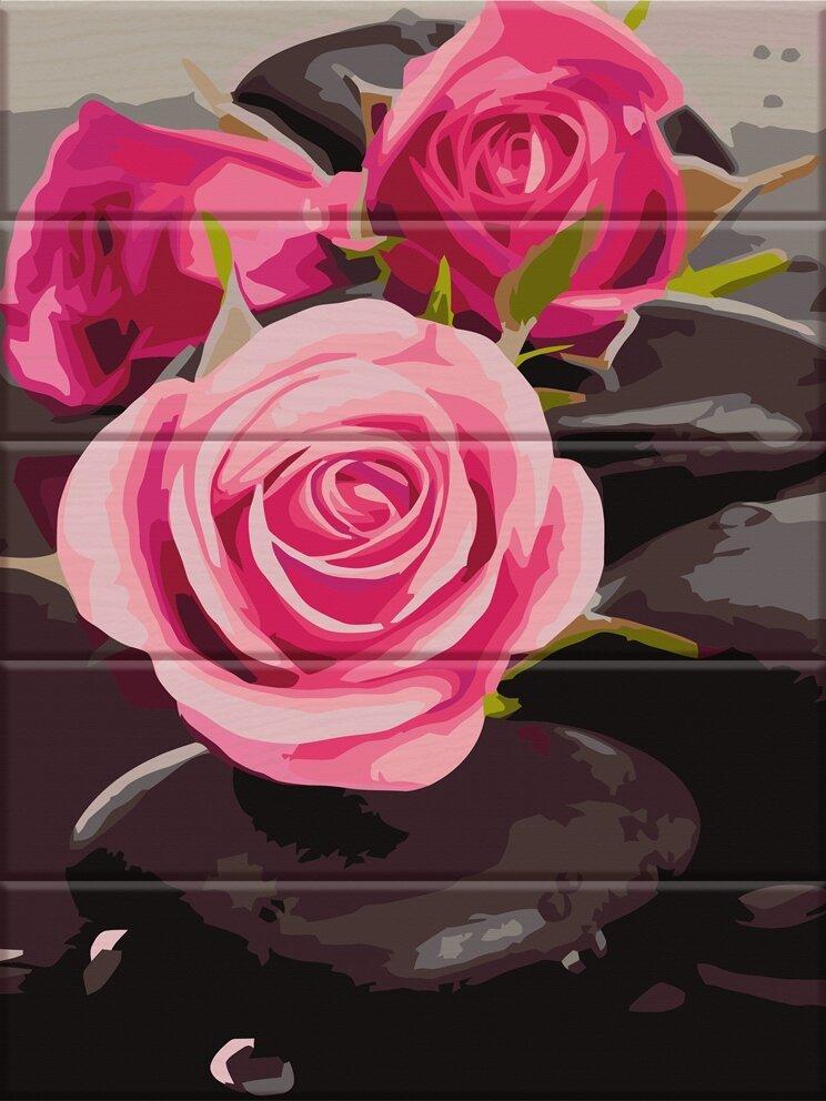 ASW081 Раскраска по номерам на деревянной основе Розы на камнях, В картонной коробке