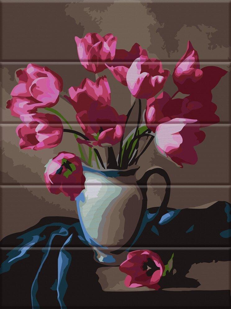 ASW083 Раскраска по номерам на деревянной основе Прекрасные тюльпаны, В картонной коробке