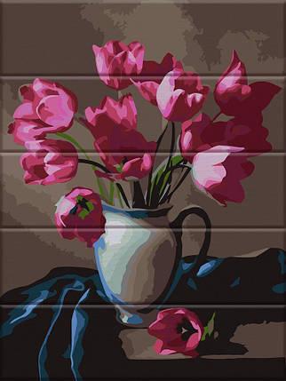 ASW083 Раскраска по номерам на деревянной основе Прекрасные тюльпаны, В картонной коробке, фото 2