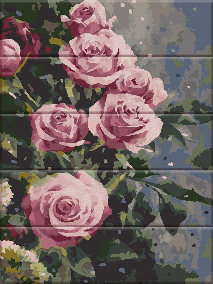 ASW086 Раскраска по номерам на деревянной основе Дымчатые розы, В картонной коробке