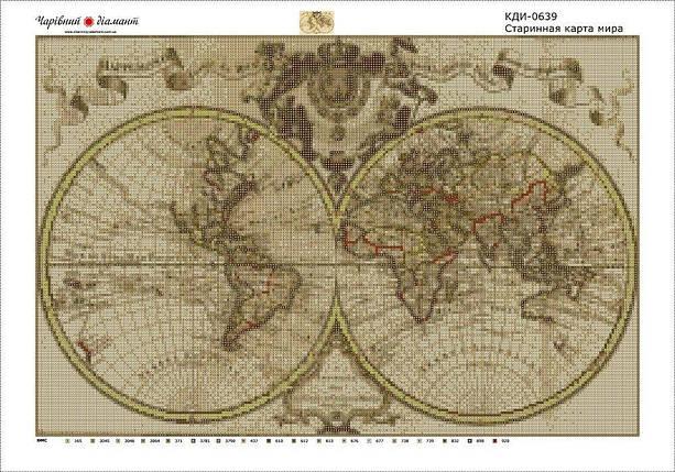 КДІ-0639 Набір алмазної вишивки Старовинна карта світу, фото 2