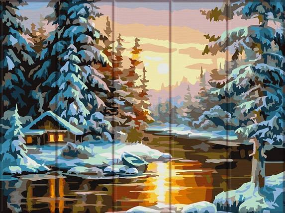 ASW104 Раскраска по номерам на деревянной основе Зима, В картонной коробке, фото 2
