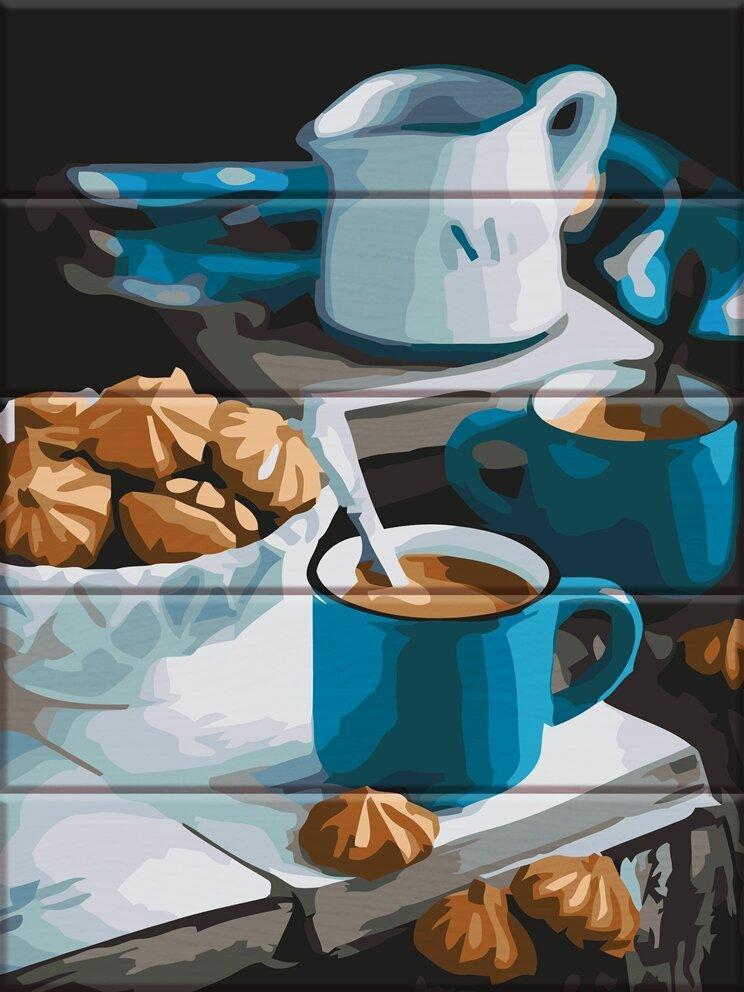 ASW109 Раскраска по номерам на деревянной основе Уютное утро, В картонной коробке