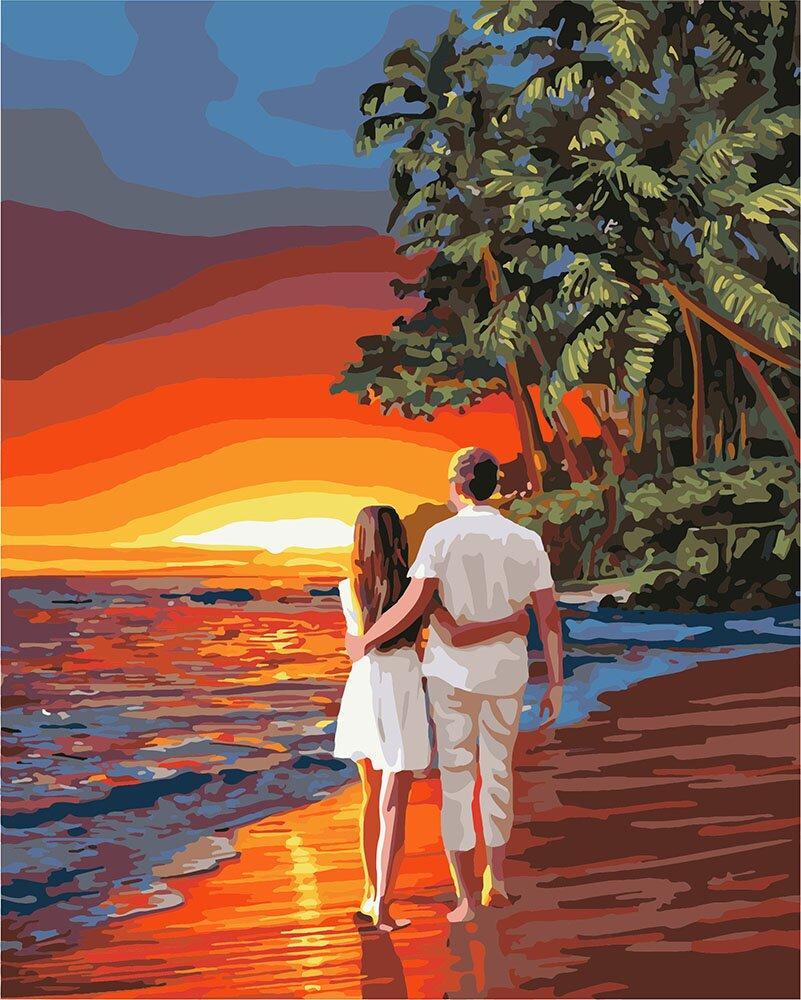 KH4741 Картина для рисования по номерам Романтика на побережье, Без коробки