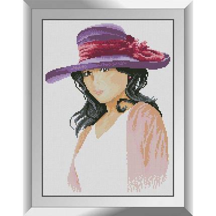 31329 У фіолетовій капелюшку Набір алмазної живопису, фото 2