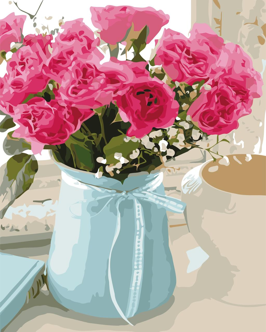 AS0521 Картина-набор по номерам Розовые розы, В картонной коробке