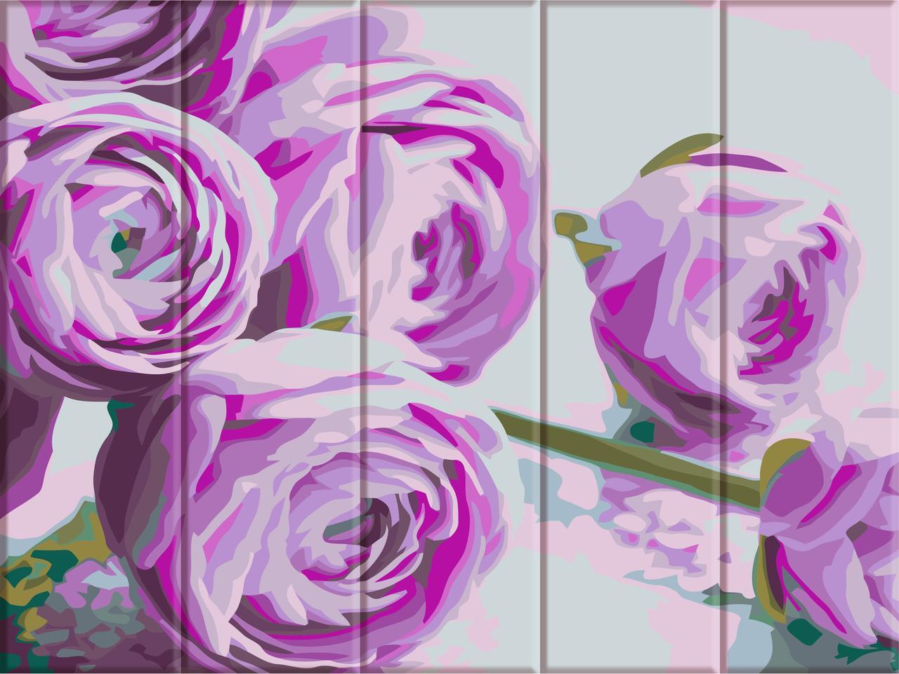 ASW044 Раскраска по номерам на деревянной основе Сиреневые цветы, В картонной коробке