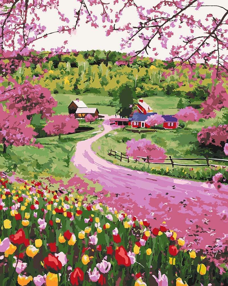 KHO2254 Набор-раскраска по номерам Дорога среди цветов, Без коробки