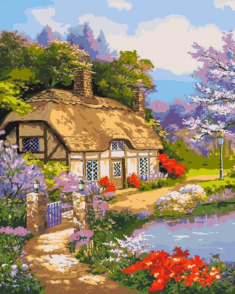KHO2255 Набор-раскраска по номерам Загородный домик, Без коробки