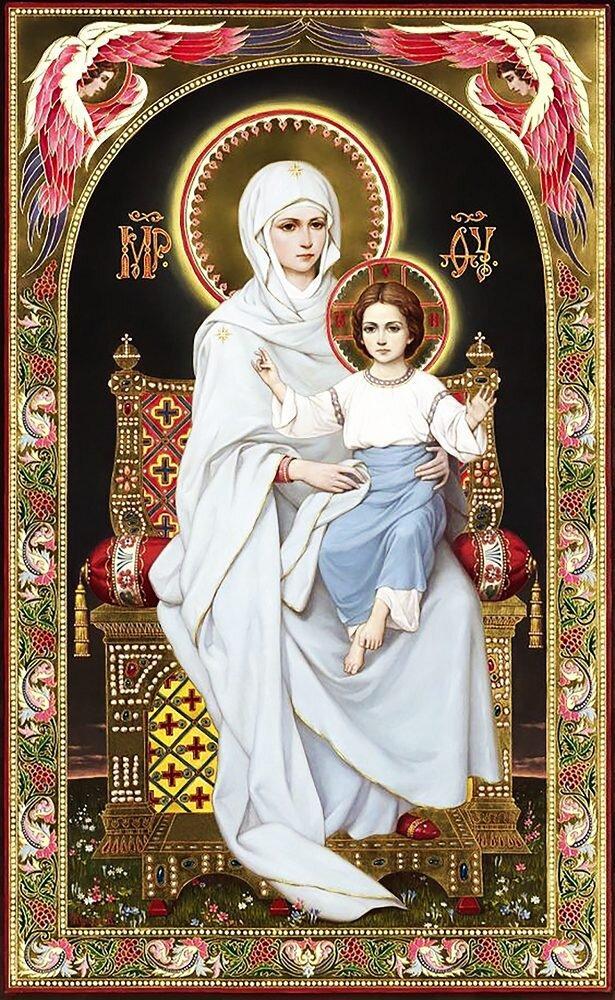 КДІ-0973 Набір алмазної вишивки Ікона Богородиця на престолі