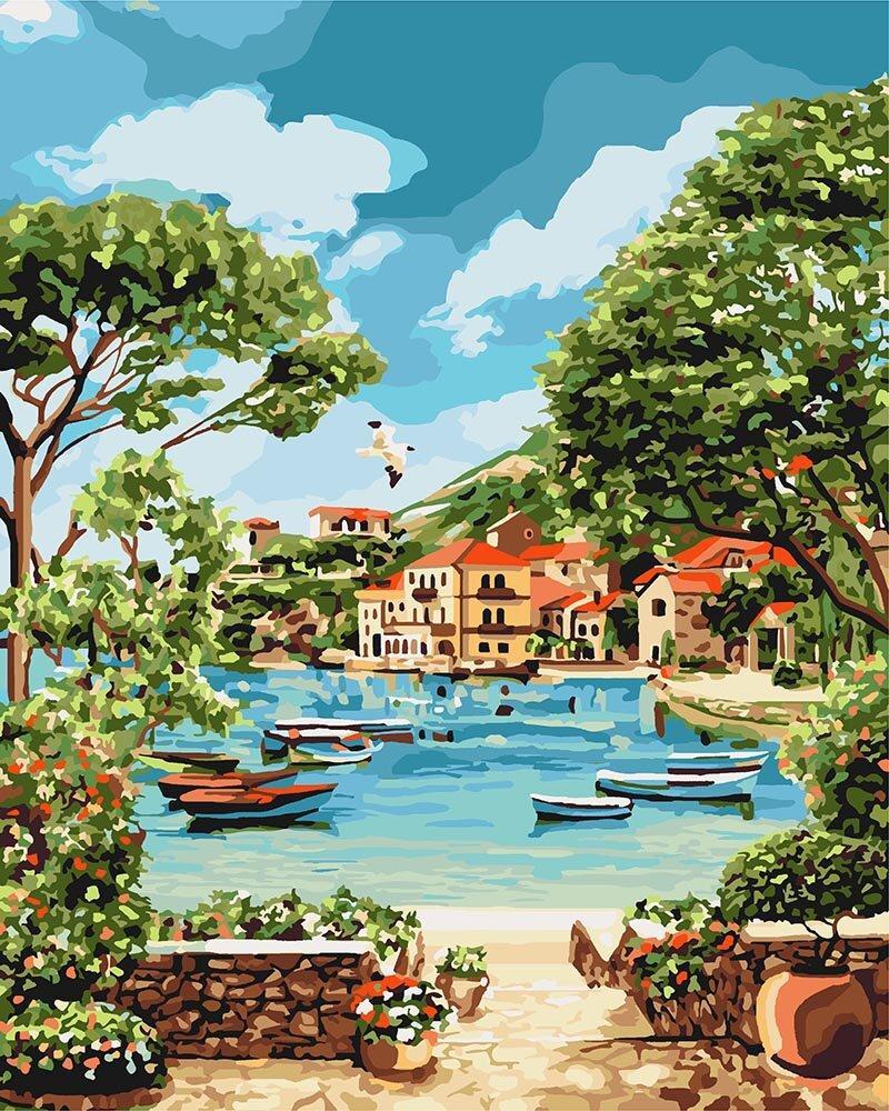 KH2738 Картина-раскраска Отдых в бухте, Без коробки