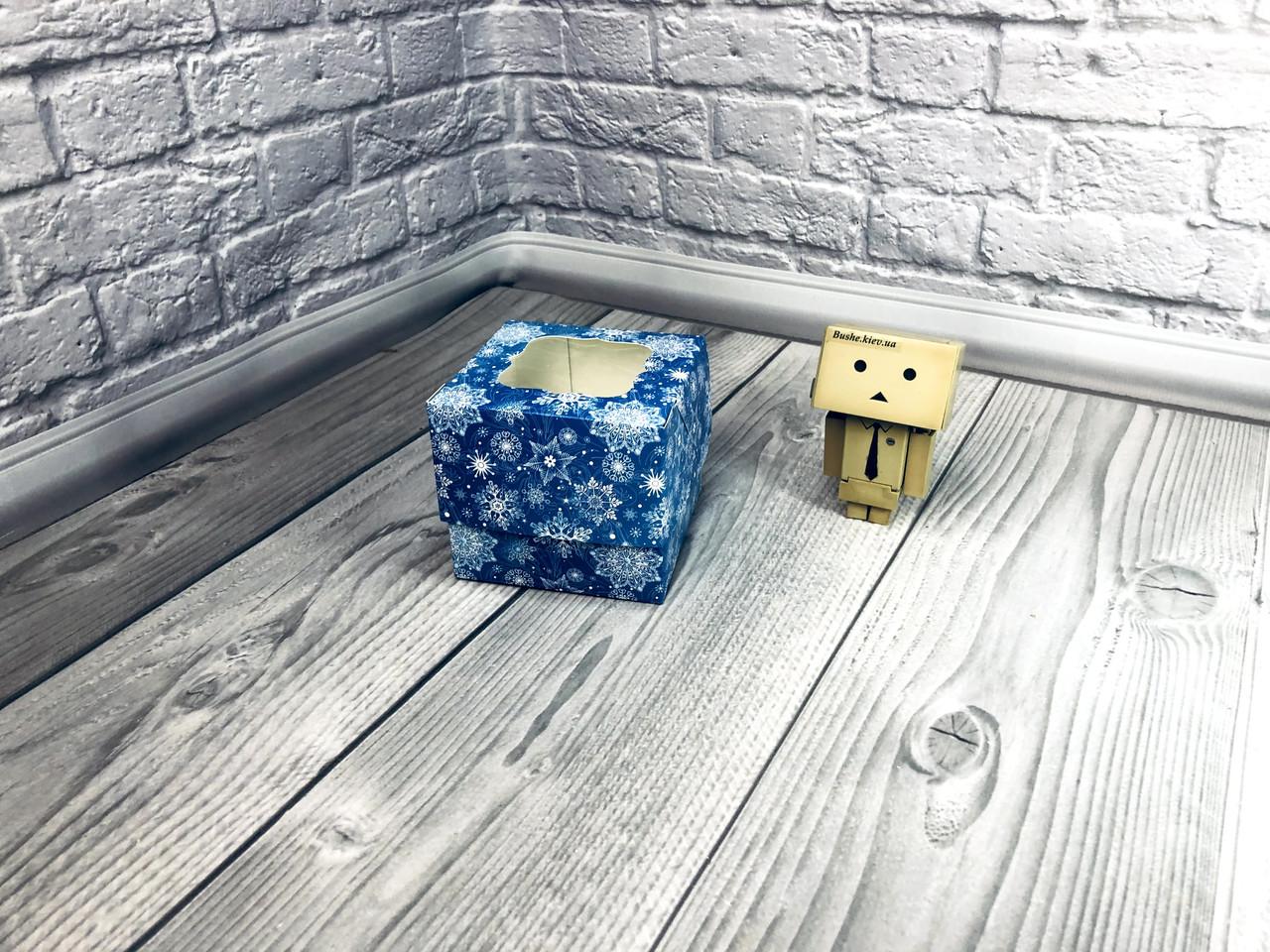 *10 шт* / Коробка для 1-ого кекса / 100х100х90 мм / печать-Снег.Синий / НГ