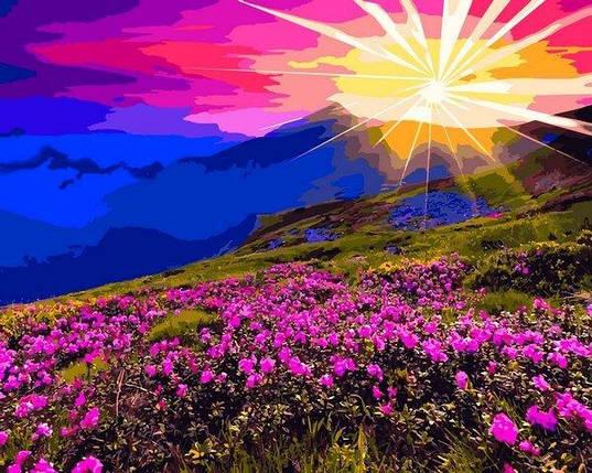 VP1165 Картина-раскраска по номерам Рассвет в горах, фото 2