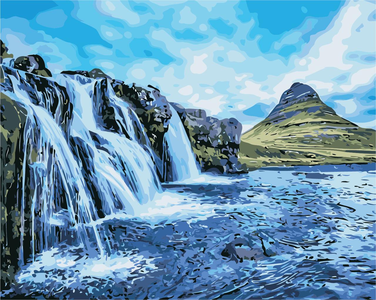 AS0387 Набор живописи по номерам Водопады, В картонной коробке