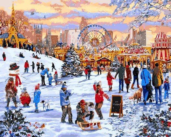 VP1204 Картина-раскраска по номерам Зимние гуляния