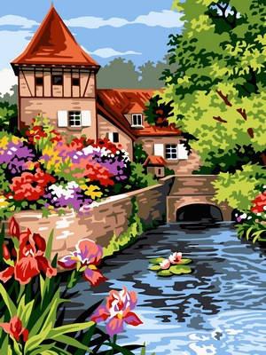 VK096 Раскраска по номерам Мостик возле мельницы, фото 2