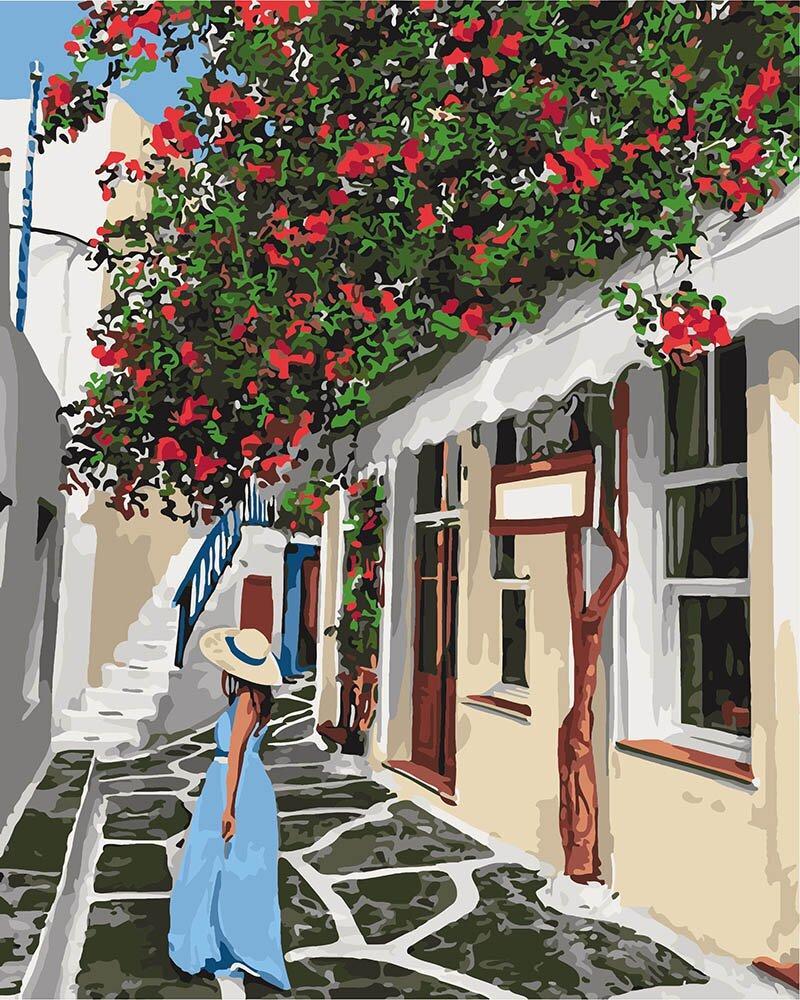KH2263 Картина-раскраска Уютными улочками, Без коробки