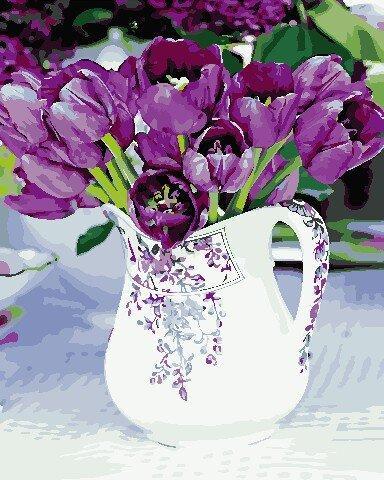 AS0674 Набор для рисования по номерам Тюльпаны в кувшине, В картонной коробке