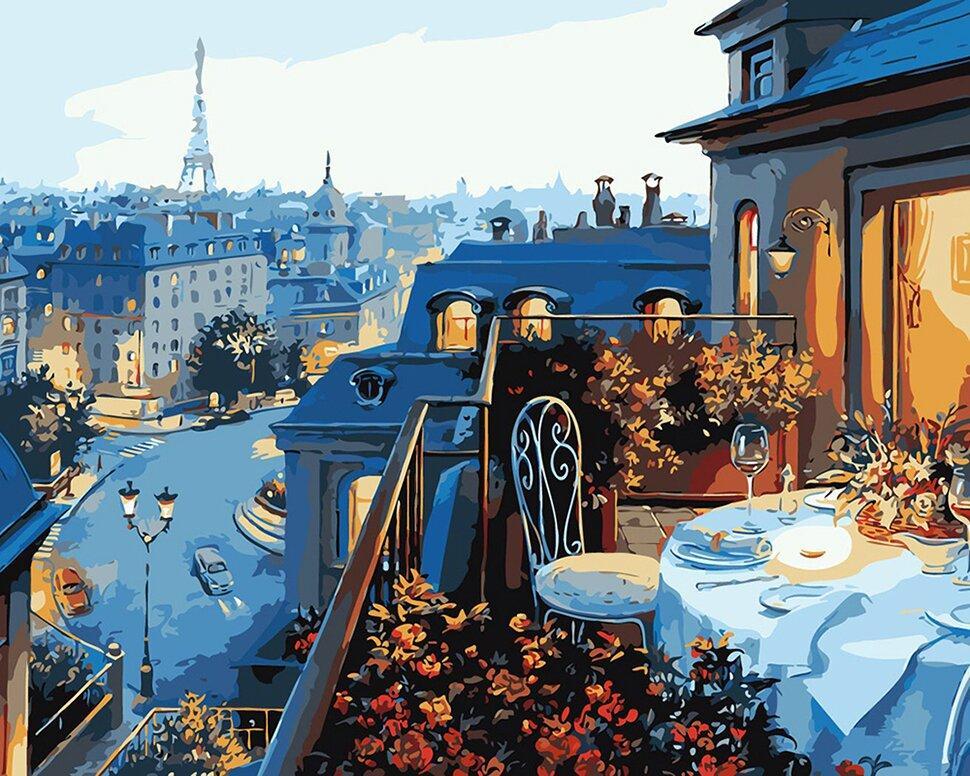 КНО1107 Раскраска по номерам Вид на Париж, Без коробки