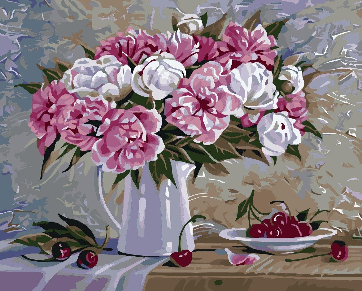 КНО2061 Раскраска по номерам Пионы и вишни, Без коробки