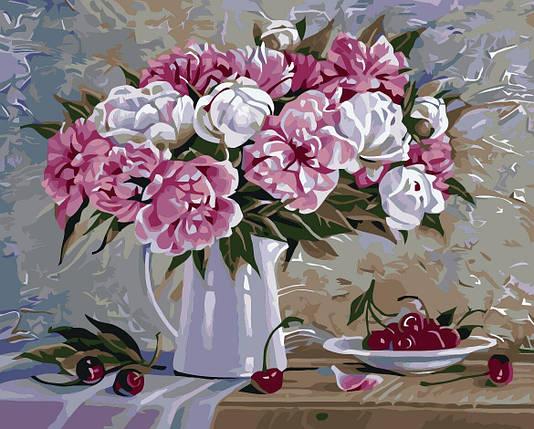 КНО2061 Раскраска по номерам Пионы и вишни, Без коробки, фото 2