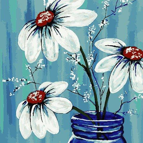 AS0792 Набор для рисования по номерам Летние цветы, Без коробки