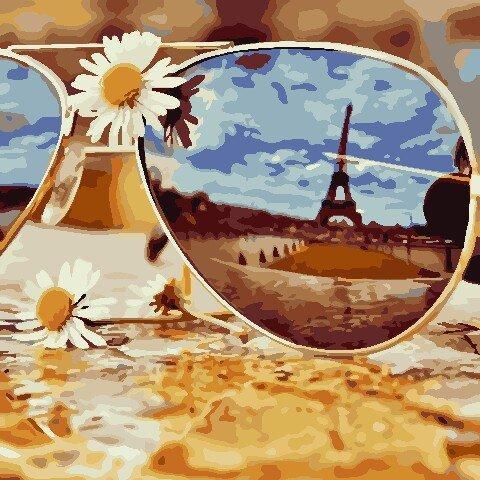 AS0808 Набор для рисования по номерам Отражение Парижа, Без коробки