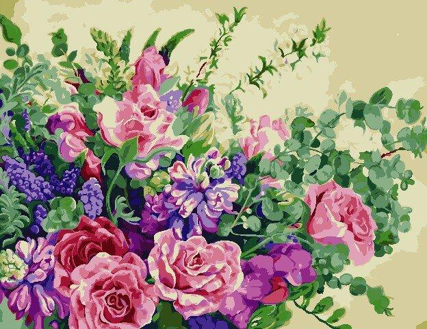 AS0815 Набор для рисования по номерам Чудесные цветы, В картонной коробке