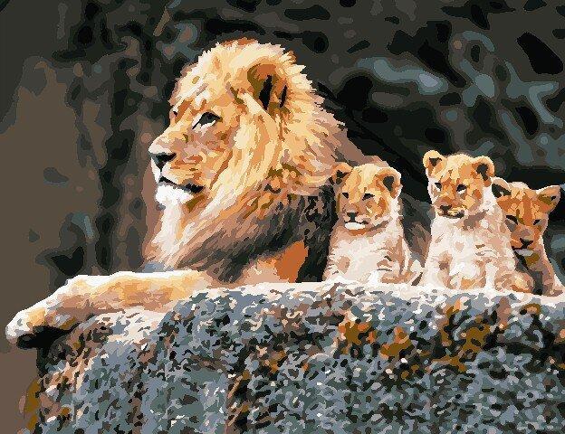 AS0820 Набор для рисования по номерам Семья львов, В картонной коробке