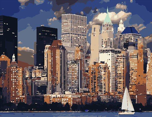 AS0827 Набор для рисования по номерам Вечер в Нью-Йорке, В картонной коробке