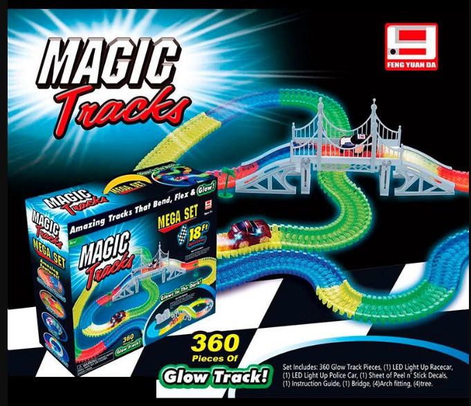 Автотрек 2 машинки 360 деталей led-подсветка Magic Tracks FYD 170209 А