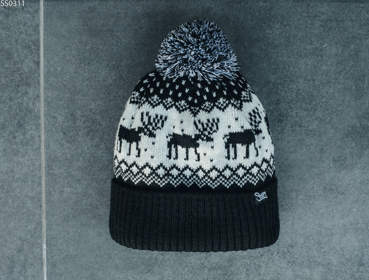 Шапка Staff black & white pattern