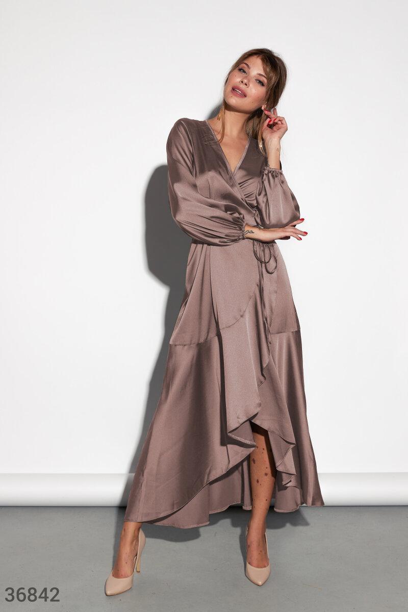 Шелковое Платье женское кофейного оттенка
