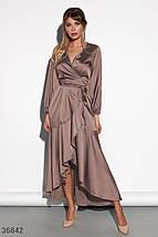 Шелковое Платье женское кофейного оттенка, фото 2