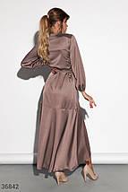 Шелковое Платье женское кофейного оттенка, фото 3
