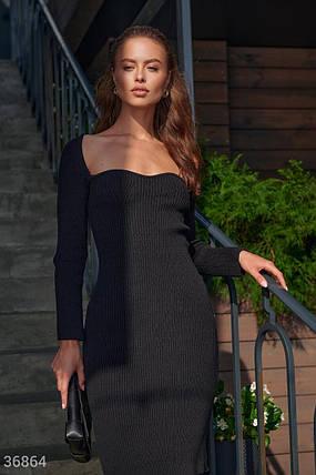 Трикотажное Платье женское с фигурным вырезом, фото 2