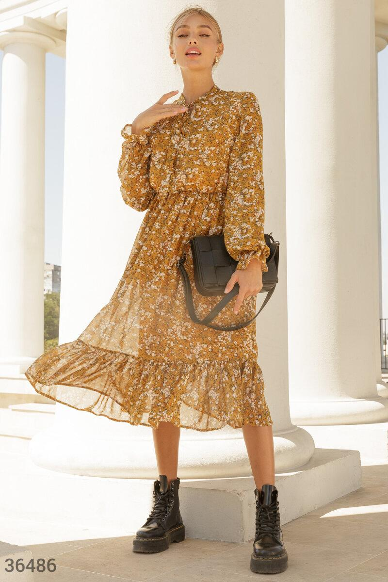Горчичное Платье женское с акварельным принтом