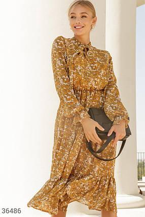Горчичное Платье женское с акварельным принтом, фото 2
