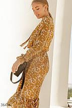Горчичное Платье женское с акварельным принтом, фото 3