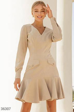 Замшевое Платье женское в актуальном бежевом оттенке, фото 2