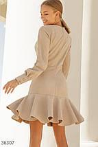 Замшевое Платье женское в актуальном бежевом оттенке, фото 3