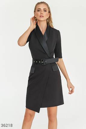 Приталенное Платье женское-жакет с атласными лацканами, фото 2