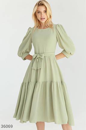 Мятное Платье женское с многоярусной юбкой, фото 2