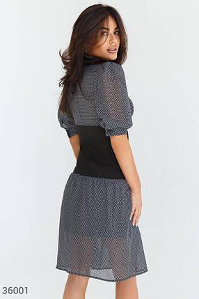 Шифоновое черное Платье женское в гороховый принт, фото 2