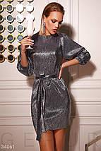 Серебристое вечернее Платье женское, фото 3