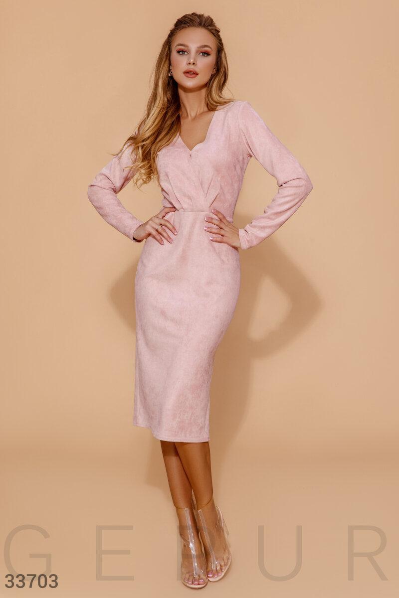 Пудровое замшевое Платье женское