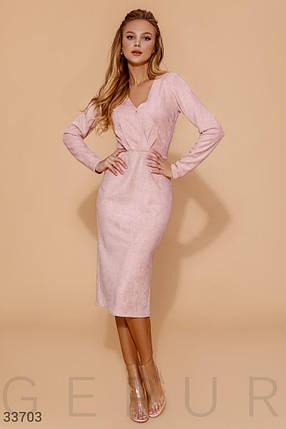 Пудровое замшевое Платье женское, фото 2