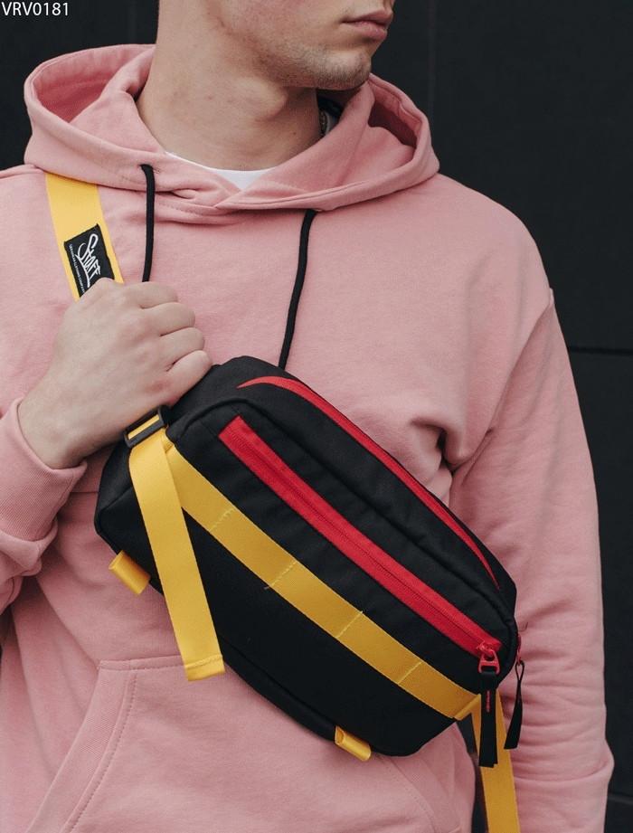 Поясная сумка Staff Square black & yellow2